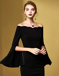 MASKED+QUEEN+Women's+Casual/Daily+Vintage+Sheath+DressSolid+Off+Shoulder+Above+Knee+Black+Cotton+Fall+/+WinterHigh+–+USD+$+38.99