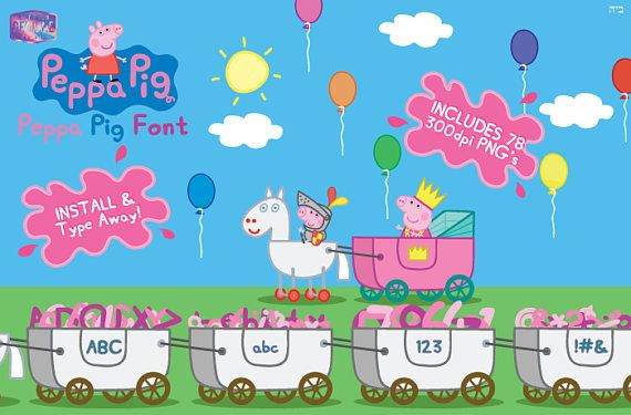 Buy 2 Digital Downloads And Get 1 FREE!!! Enter Coupon Code 3FOR2 At  Checkout. Peppa Pig Font | Install And Type Away!! PLUS 78 300 DPI Images  **Digital ...