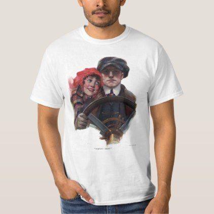 Classic car romantic vintage winter illustration T-Shirt | Zazzle.com