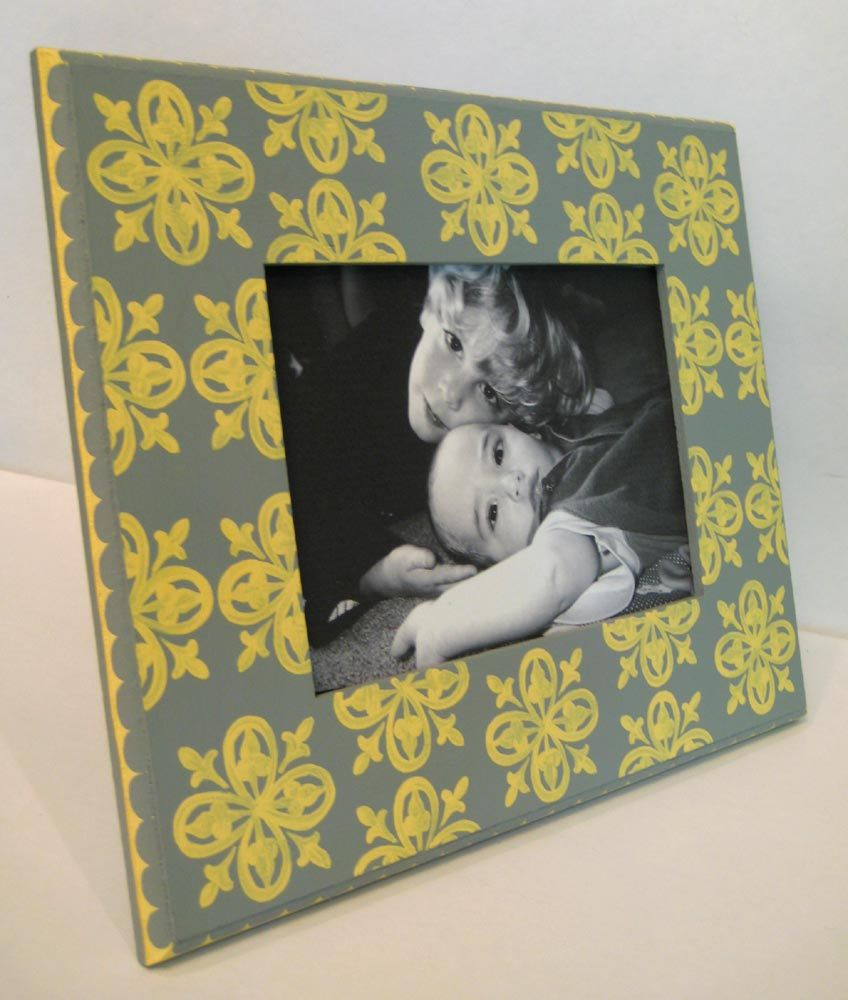 Gray And Yellow 5x7 Painted Picture Frame with Medallion Pattern ...