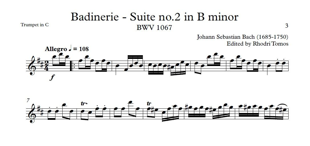 Bach BWV1067 Badinerie - Suite no 2 in B minor play along mp4 video