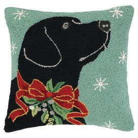 12 x 20 Inches Peking Handicraft Black Lab Labrador Retriever Dog with Antlers Ornament Hooked Wool Christmas Stocking