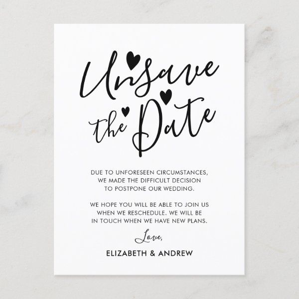 Unsave the Date Hearts Wedding Postponement Announ