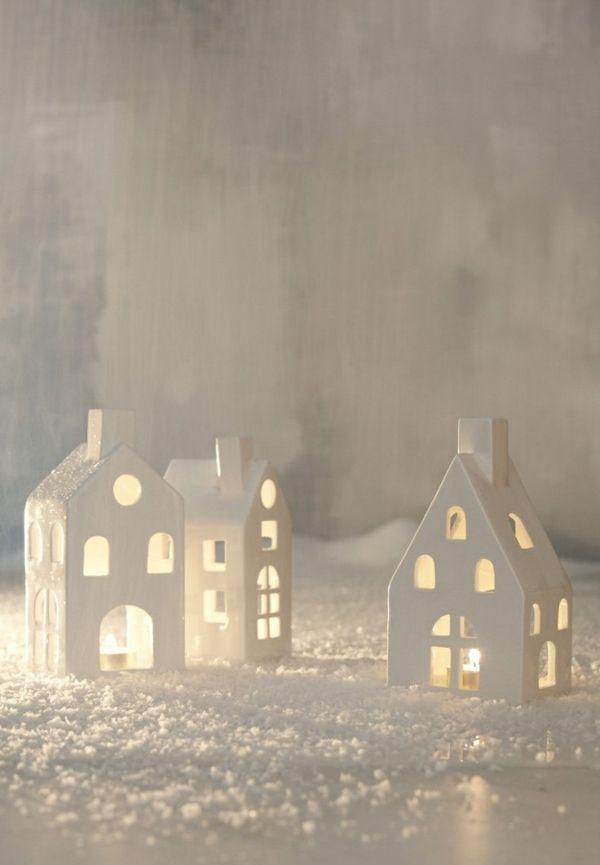 L Schone Weisse Leuchtende Hauser Paper Houses Christmas