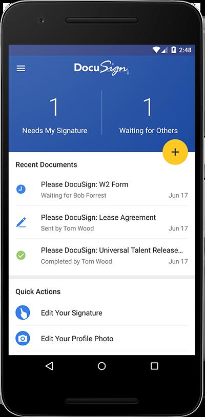 DocuSign mobile electronic signature app for business | Docu