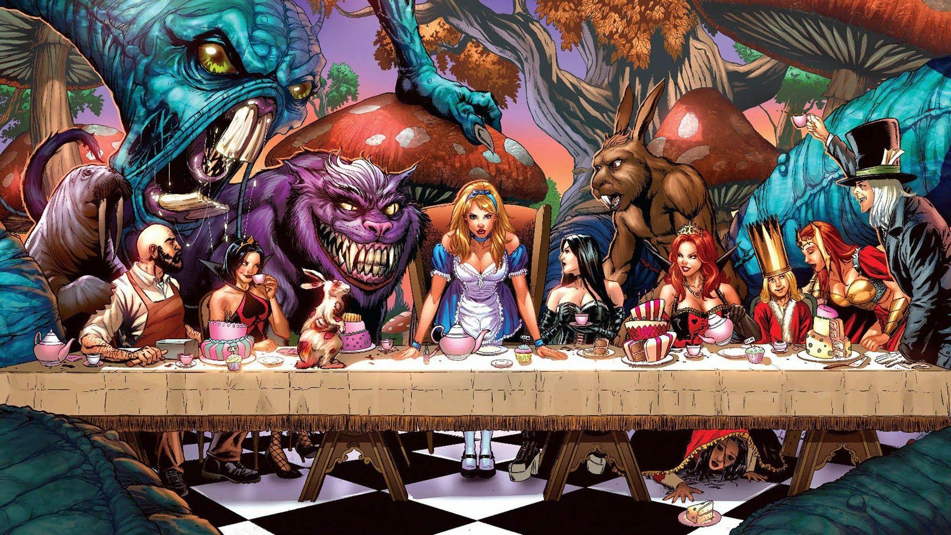 Creepy Alice In Wonderland Full Hd Desktop Wallpaper And Background Image Search Alice In Wonderland Poster Grimm Fairy Tales Wonderland
