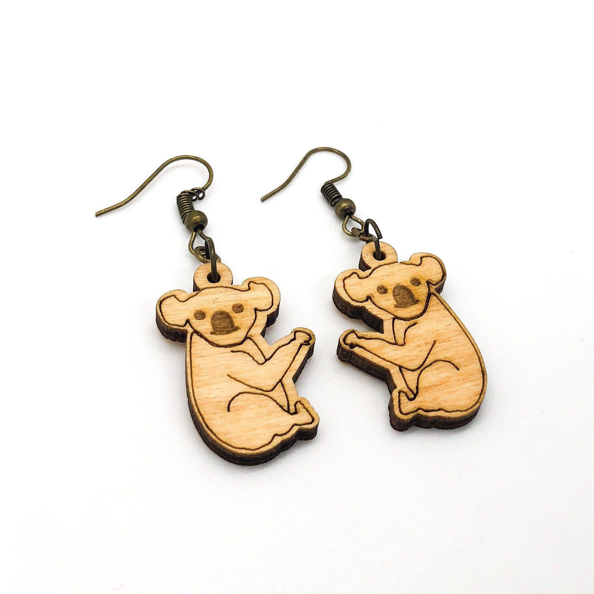 Bear earrings  teardrop earrings  laser cut wooden jewelry  animal jewelry  nature earrings  teacher gift