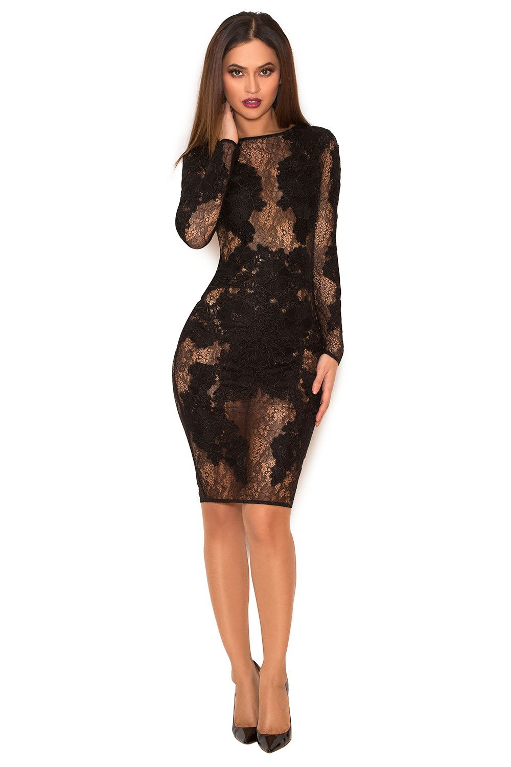 f576e84280e Clothing   Glamour Dresses    Nolita  Black Stretch Lace Long Sleeve Dress  - Limited Edition