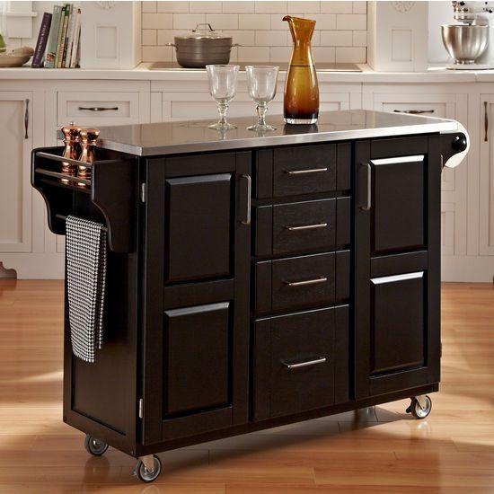 mix and match kitchen cart cabinet w black paint and stainless steel top by home styles on kitchen island ideas kitchen bar carts id=41939