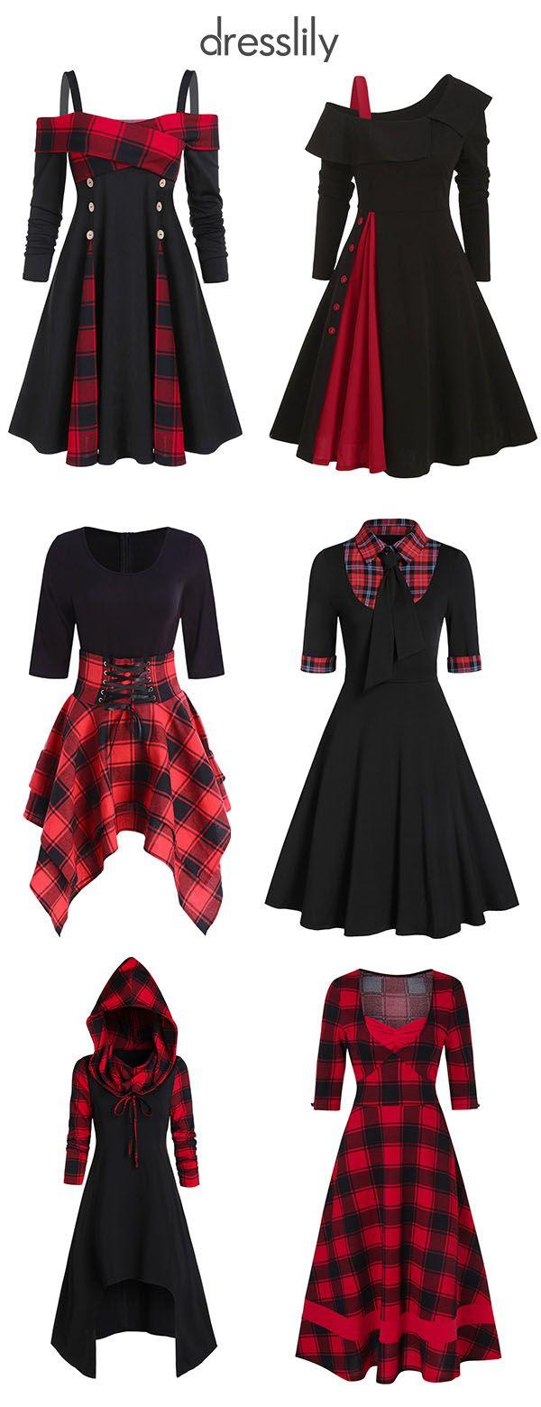 [From $18.99] Women Dresses | Plaid Dresses | Red Black Dress | Women's Designer Dresses