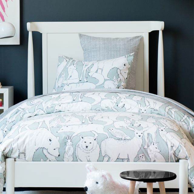 Dwellstudio Mid Century Full Bed And Nightstand In An Edgy Bedroom With Almost Black Wall Twin Bedding Ella Elliot Toronto Vancouver