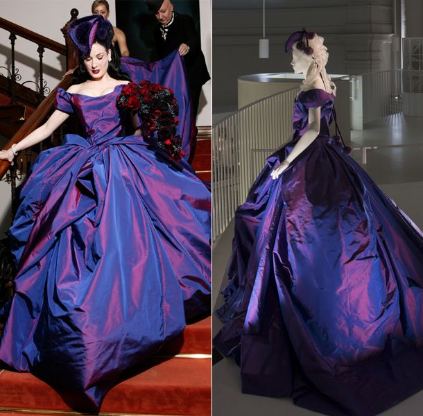464e0d5cbb Dita Von Teese commissioned Vivienne Westwood to make her 2005 wedding dress  Dita pushed boundaries even further by donning an extravagant purple  wedding ...