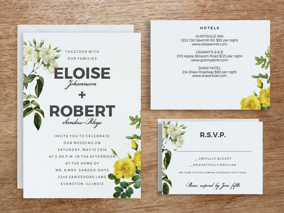 printable wedding invitation template instant download yellow white roses diy editable
