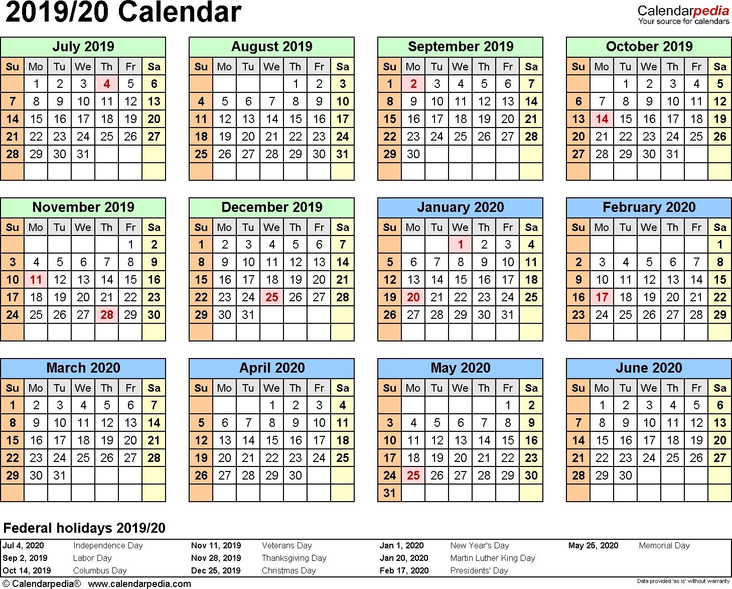 Split Year Calendar 2019/20 (July To June) Word