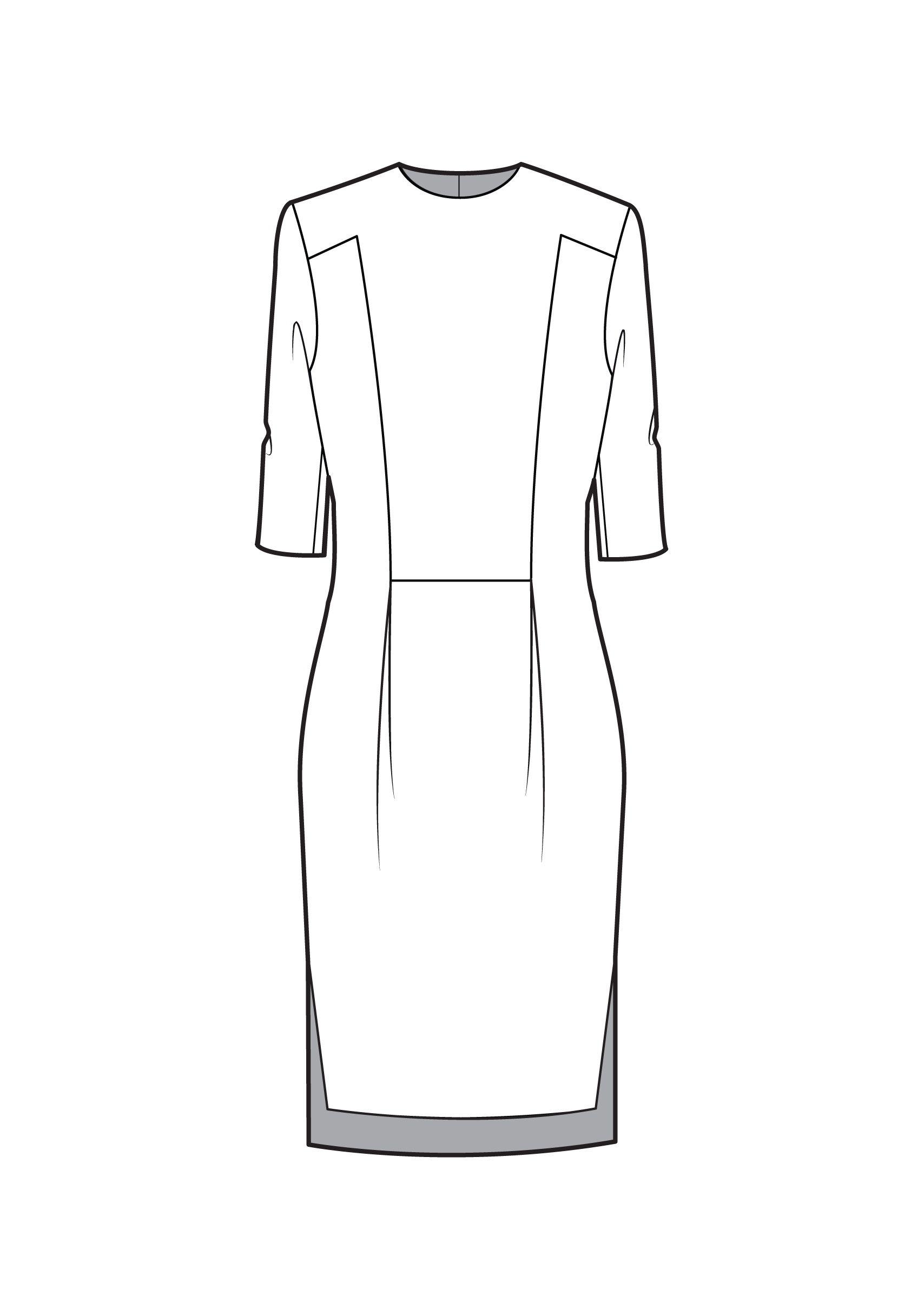 3 quarter sleeve cocktail dress technical flat