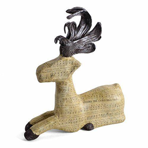 Christmas Sheet Music Papier Mache Reindeer Figurine