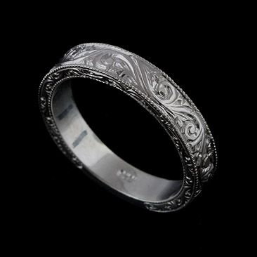 14K Solid White Gold Art Deco Style Engraved Mens Wedding Band