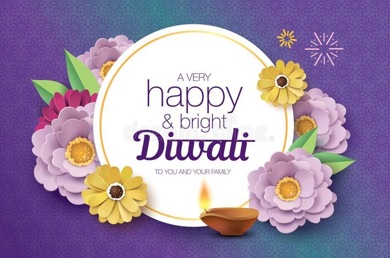 Happy Diwali Diwali Festival Greeting Card With Beautiful Blossom Flowers And D Sponsored Greeting Card Happy Diwali Diwali Diwali Festival Of Lights