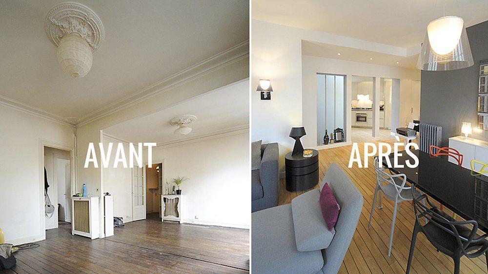 Bien Renovation Appartement Avant Apres #13: Avant / Après : Clarifier Lu0027espace Séjour Et Le Mettre En Relation Avec La  Cuisine