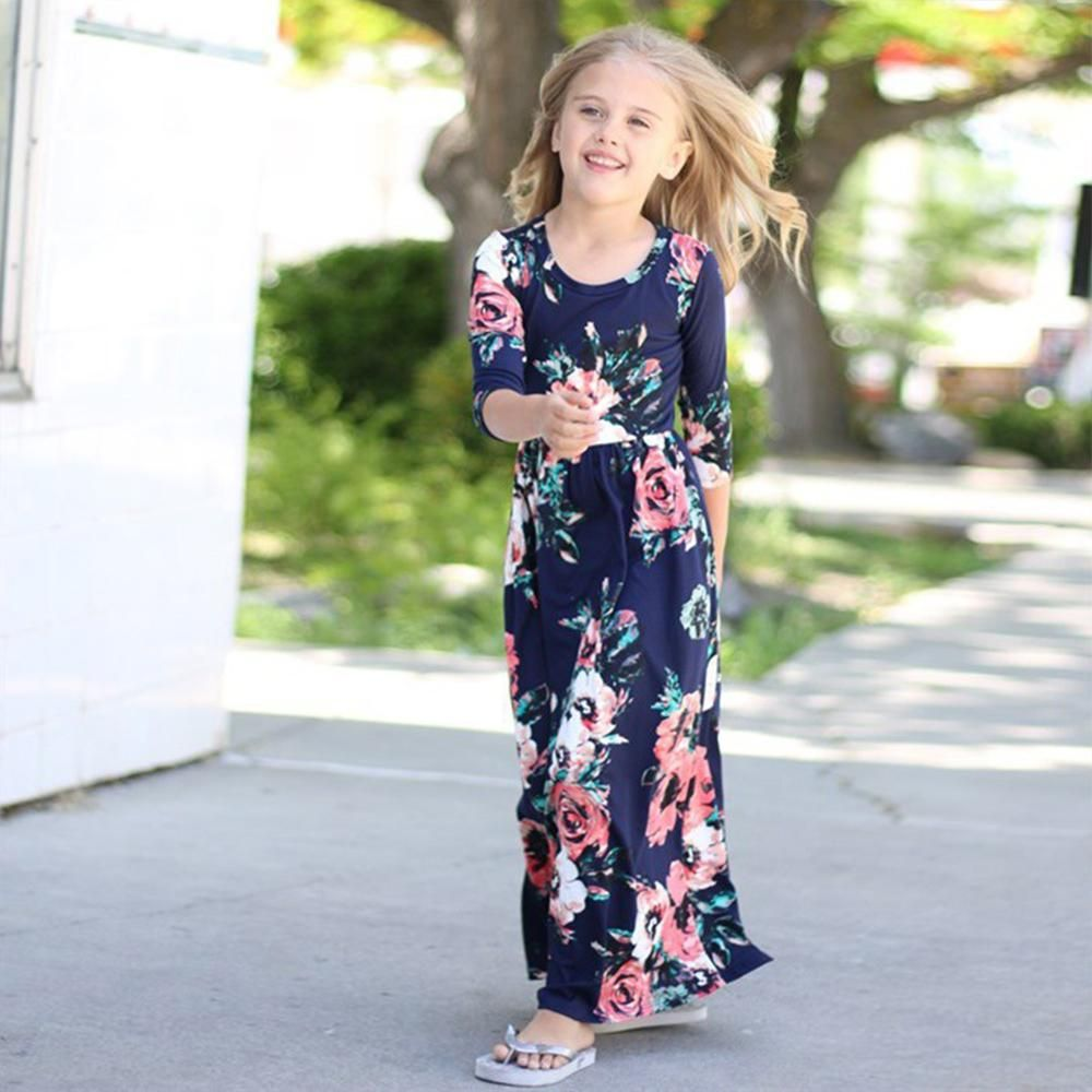 Girls boho sleeve floral print mother matching maxi dress moda