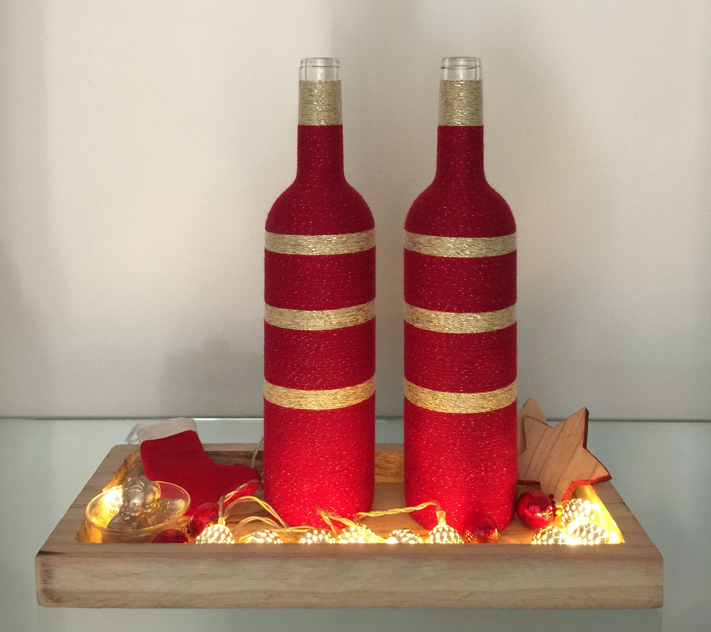 Wrapped Bottles X Mas Red Wine Bottle Crafts Wine Bottle Decor Glass Bottle Diy