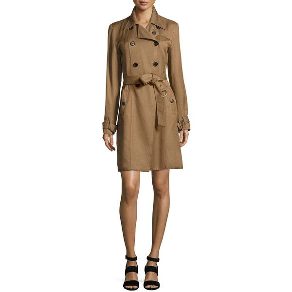 Veronica Beard Hutton Double-Breasted Twill Trench Dress ($750) ❤ liked on Polyvore featuring dresses, khaki, women's apparel jackets, veronica beard and veronica beard dress
