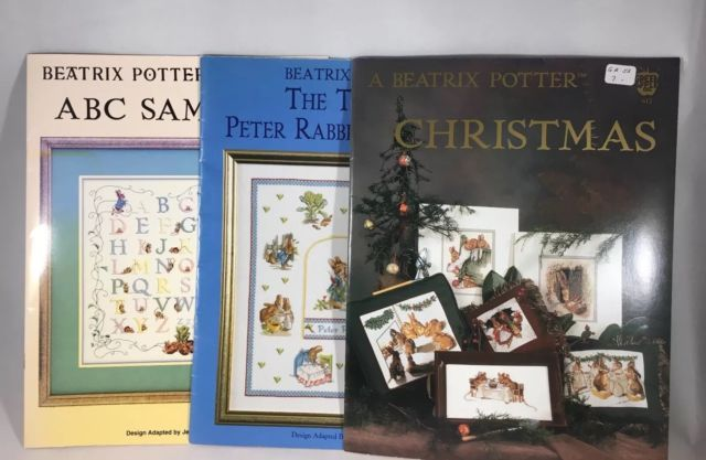 Lot of 3 Beatrix Potter Cross Stitch Patterns Peter Rabbit Samplers & Christmas | eBay