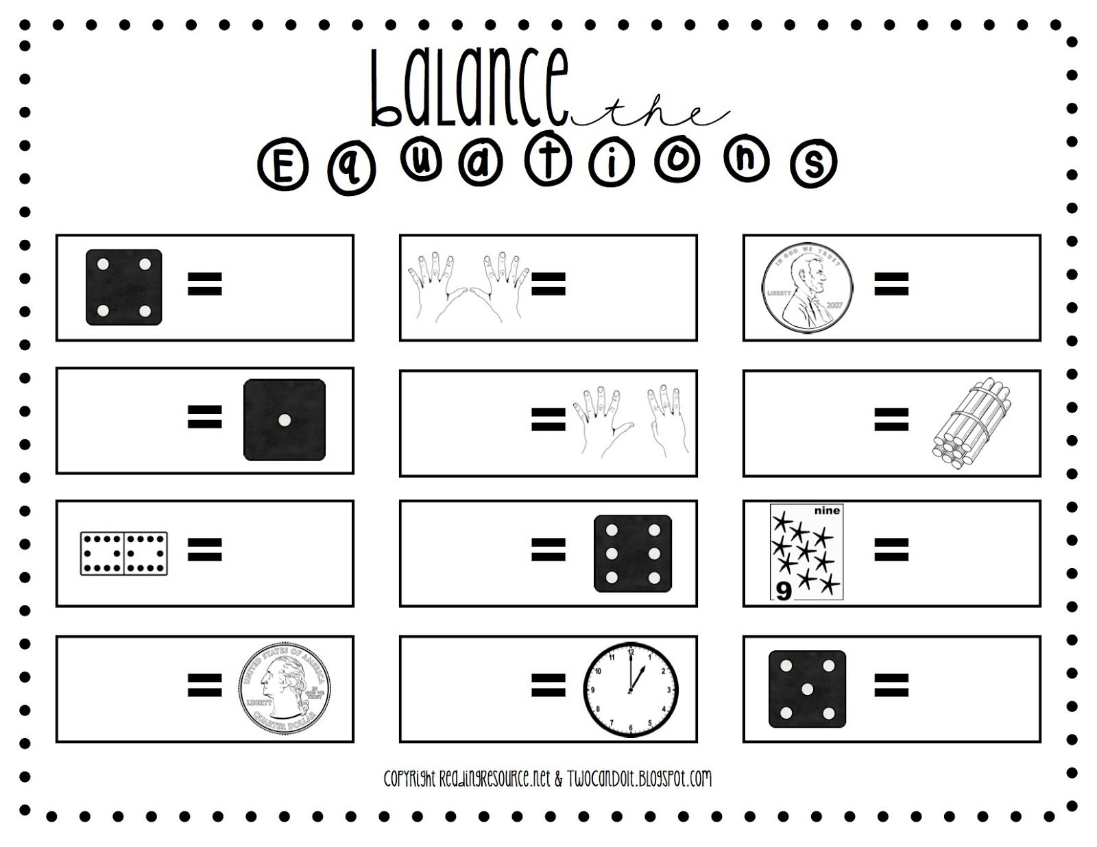 small resolution of Two Can Do It: Balanced Equations (Worksheet)   Math worksheets