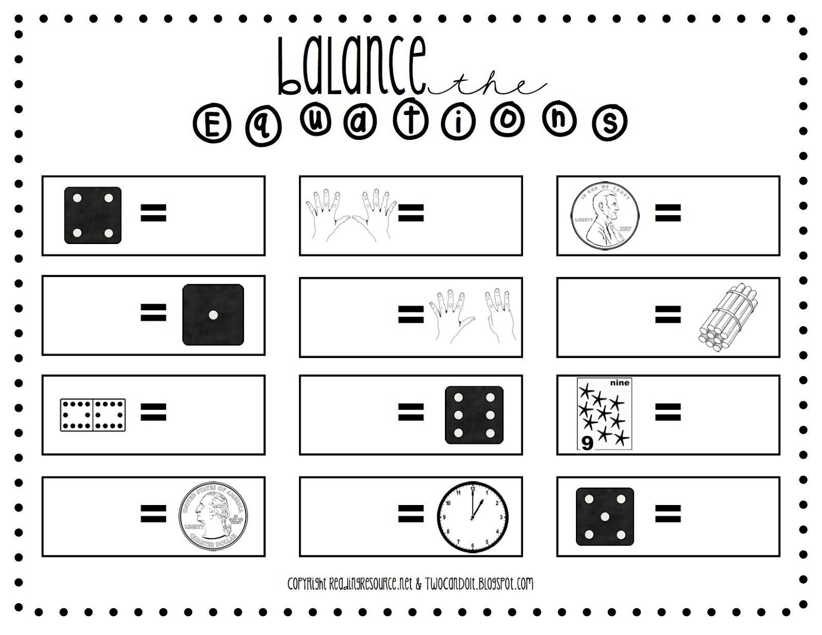 Two Can Do It Balanced Equations Worksheet School Stuff