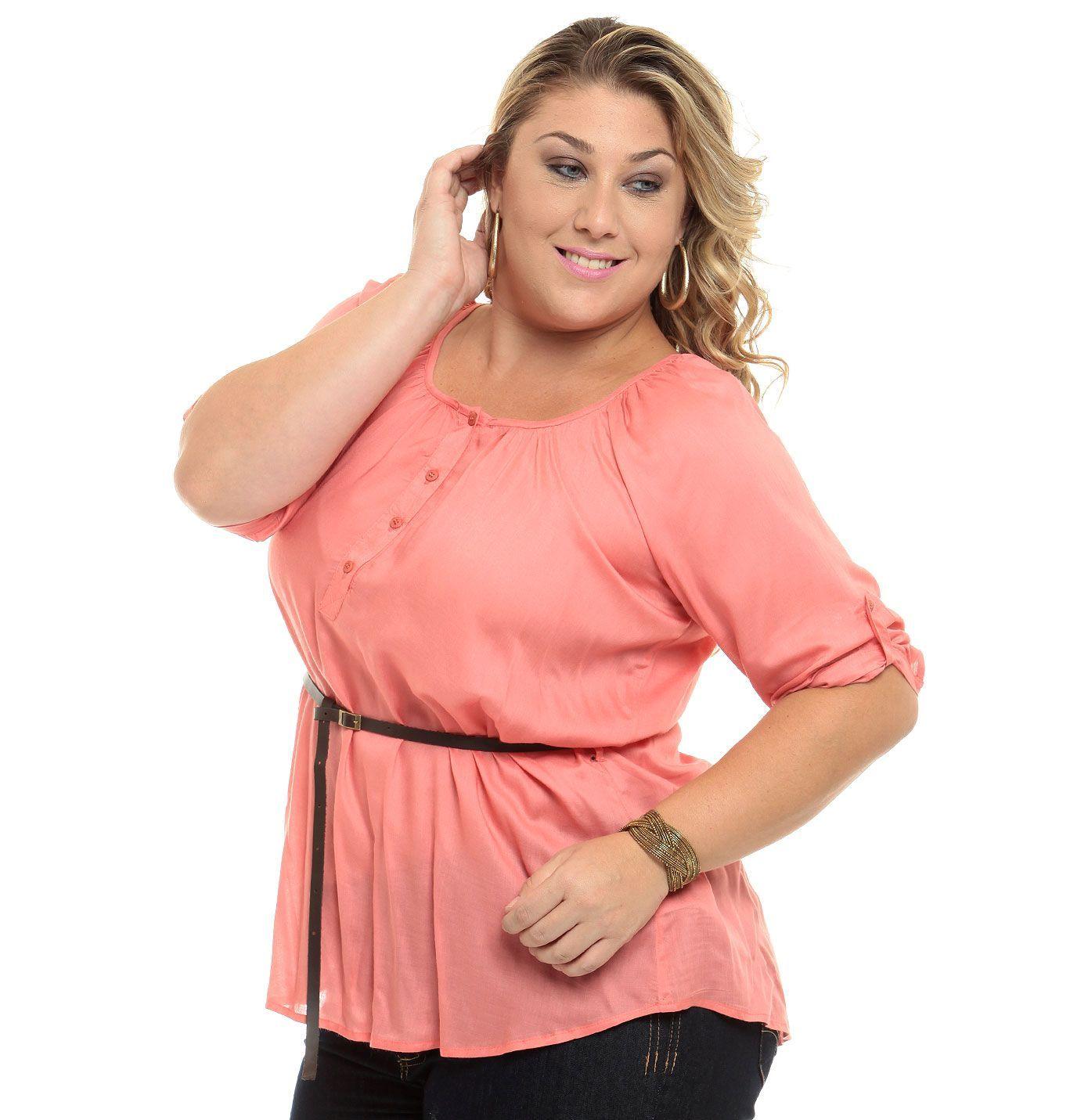 ddb817e4b Marisa: Blusa feminina em viscose, manga 3/4 com aplicação de botões ...