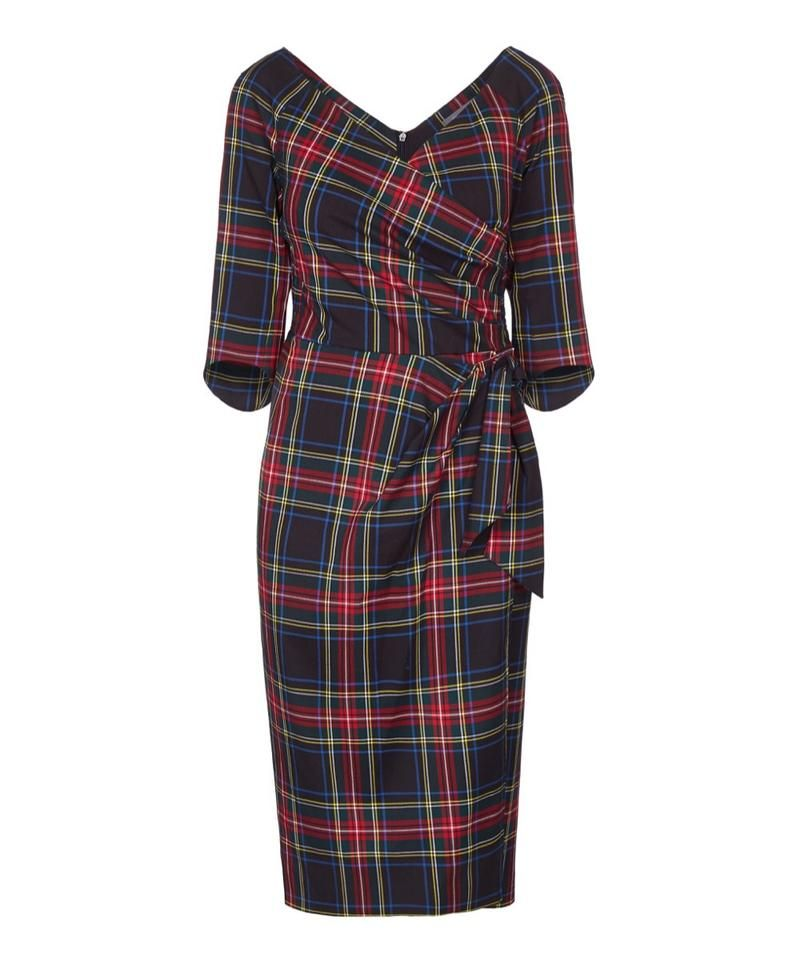 9b6548fcf27 Wrap dress tartan wedding guest