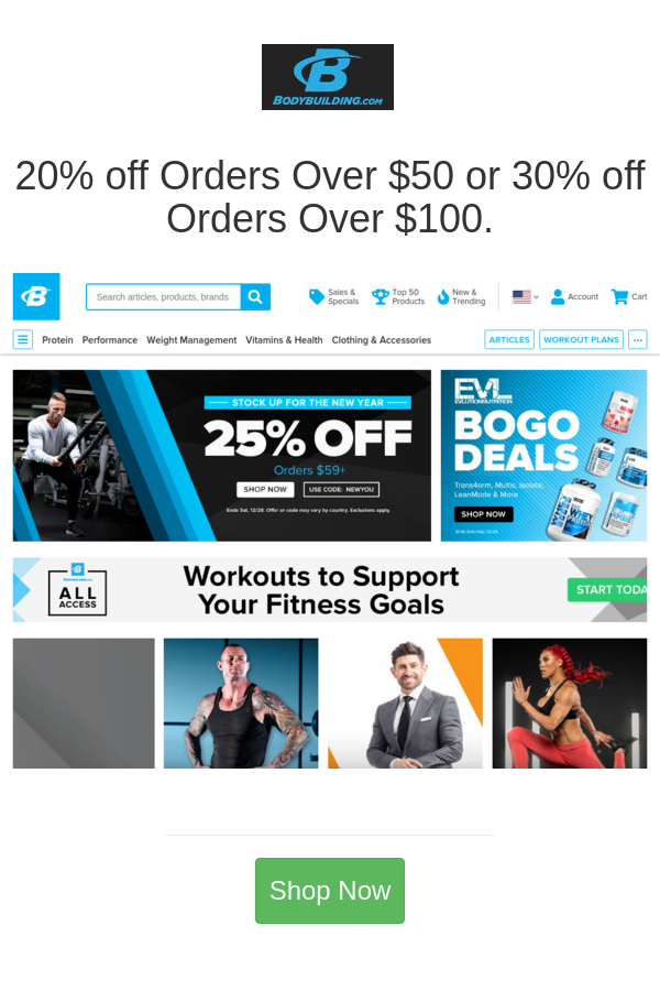 20 Off Orders Over 50 Or 30 Off Orders Over 100 Bodybuilding Com Health Clothes Weight Management