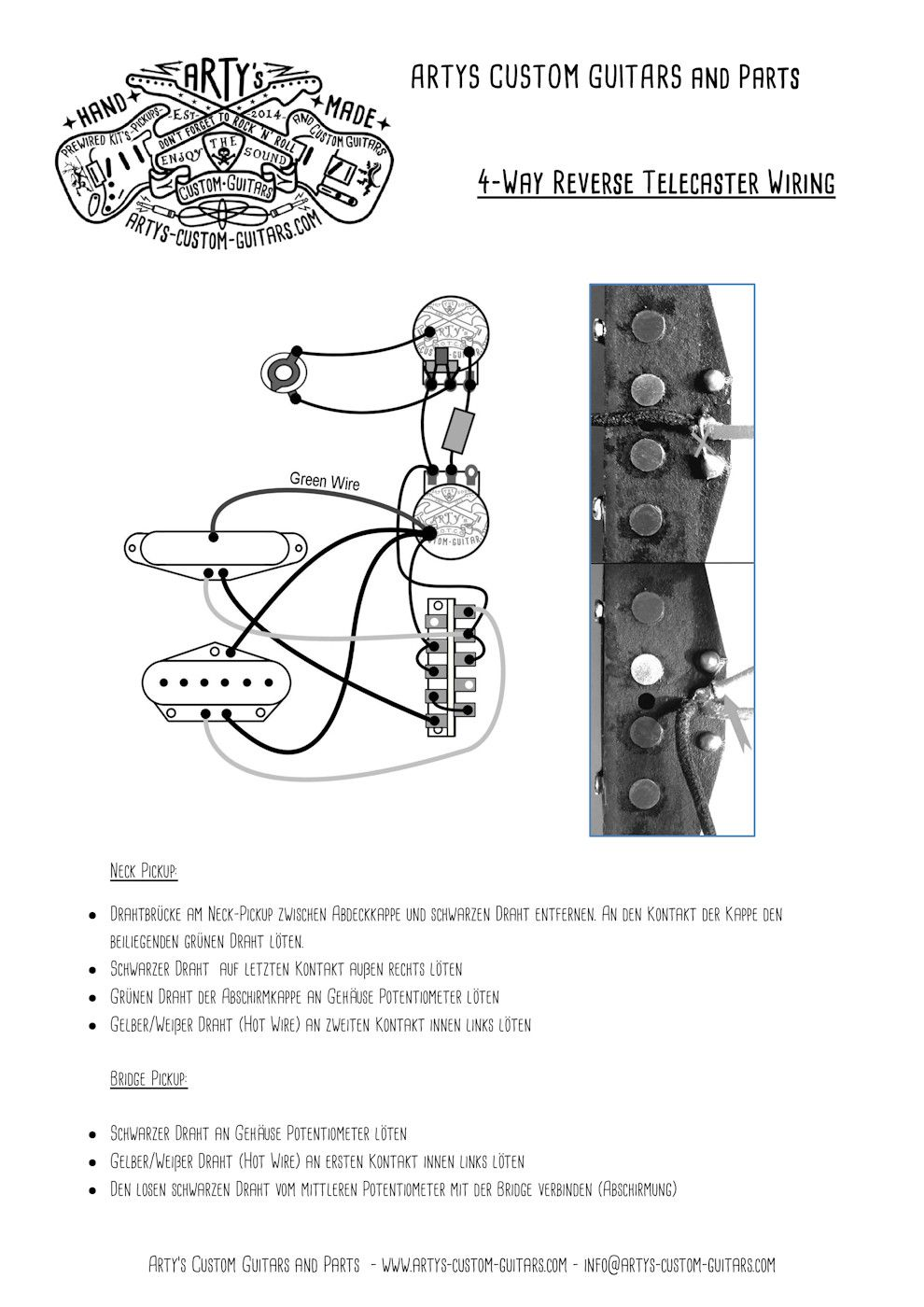 Arty\u0027s Custom Guitars Wiring Diagram Plan Telecaster Assembly Harness Tele