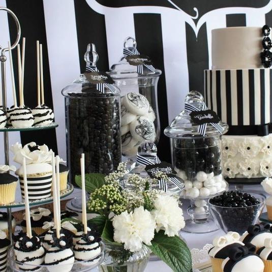 Elegant White Wedding Theme: 56 Elegant Black And White Wedding Dessert Tables