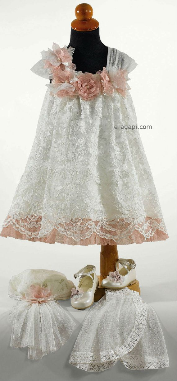 dadbe4f51c Couture lace dress Baby girl wedding dress white SET   Greek ...