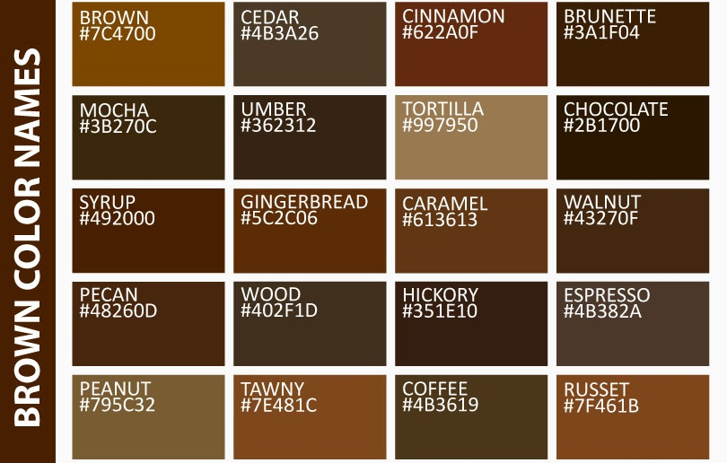 Brown Eye Color And Its Best Things To Know Brown Color Palette Brown Color Names Brown Pantone