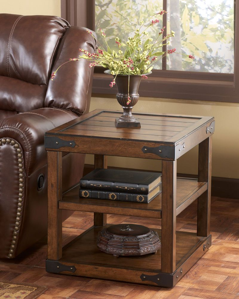 Rustic Rectangular End Table Casual Style Occasional Furniture