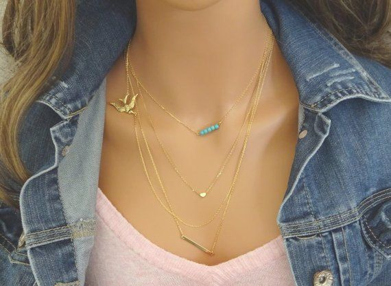 Layered Necklace Set of 4 / Gold Heart Necklace / by LAminiJewelry