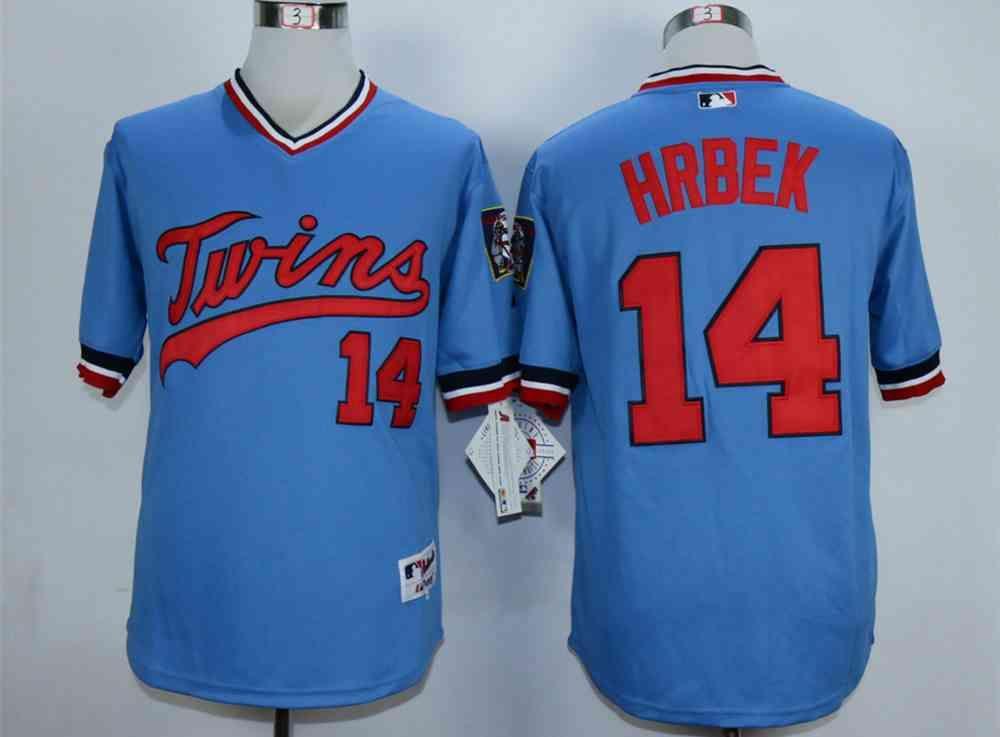 54998ec4ace ... Mens Minnesota Twins 14 Kent Hrbek Blue Cooperstown Jersey Twins Blank  Red New Cool Base ...
