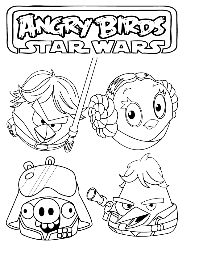Nice Angry Bird Star Wars Coloring Page