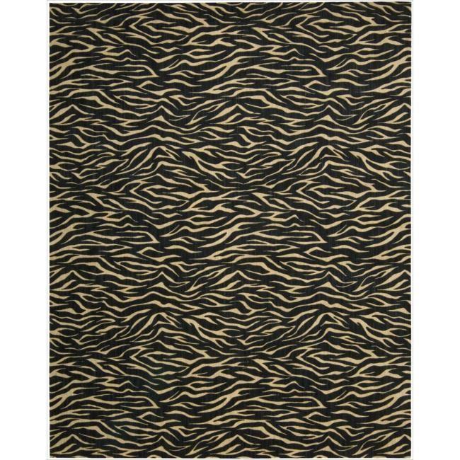 Nourison Cosmopolitan Midnight Tiger Print Rug (7'6 x 9'6) (1), Black, Size 8' x 10' (Wool, Abstract)