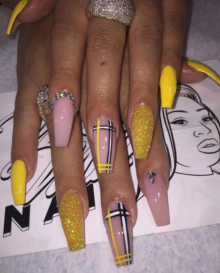 Yellow Coffin Acrylic Nails Baddie Nailart Naildesigns Gelnail Acrylicnailsdesigns In 2020 Coffin Nails Designs Nail Designs Best Acrylic Nails