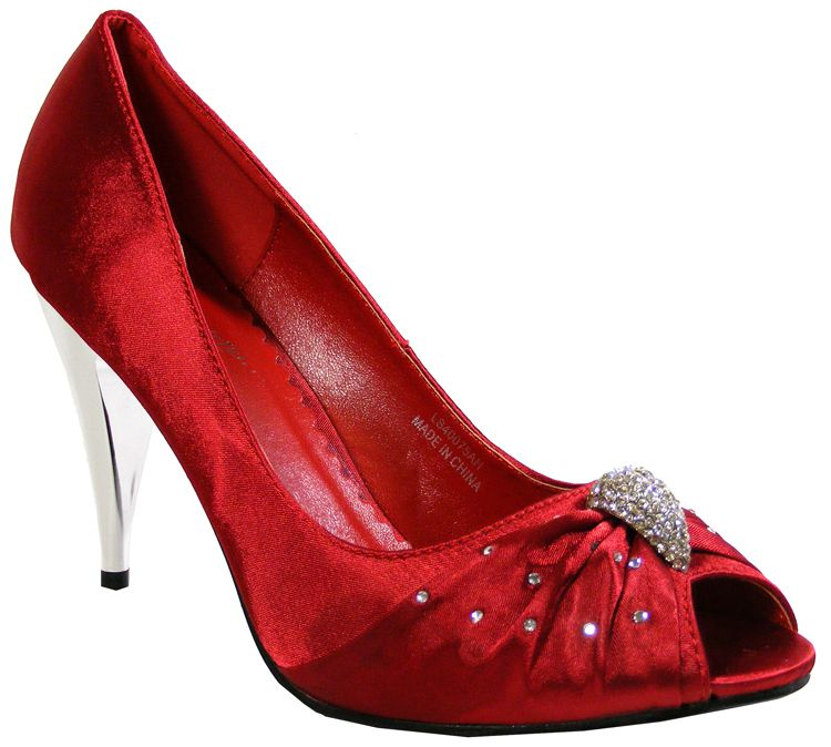 RED SATIN WOMENS SHOES FROM - SIZE 5