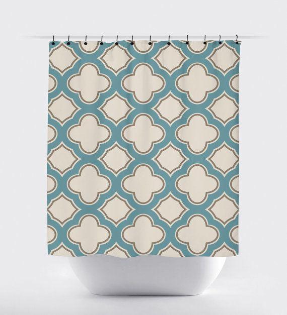 Light blue, tan cream geometric shower curtain, high quality fabric ...