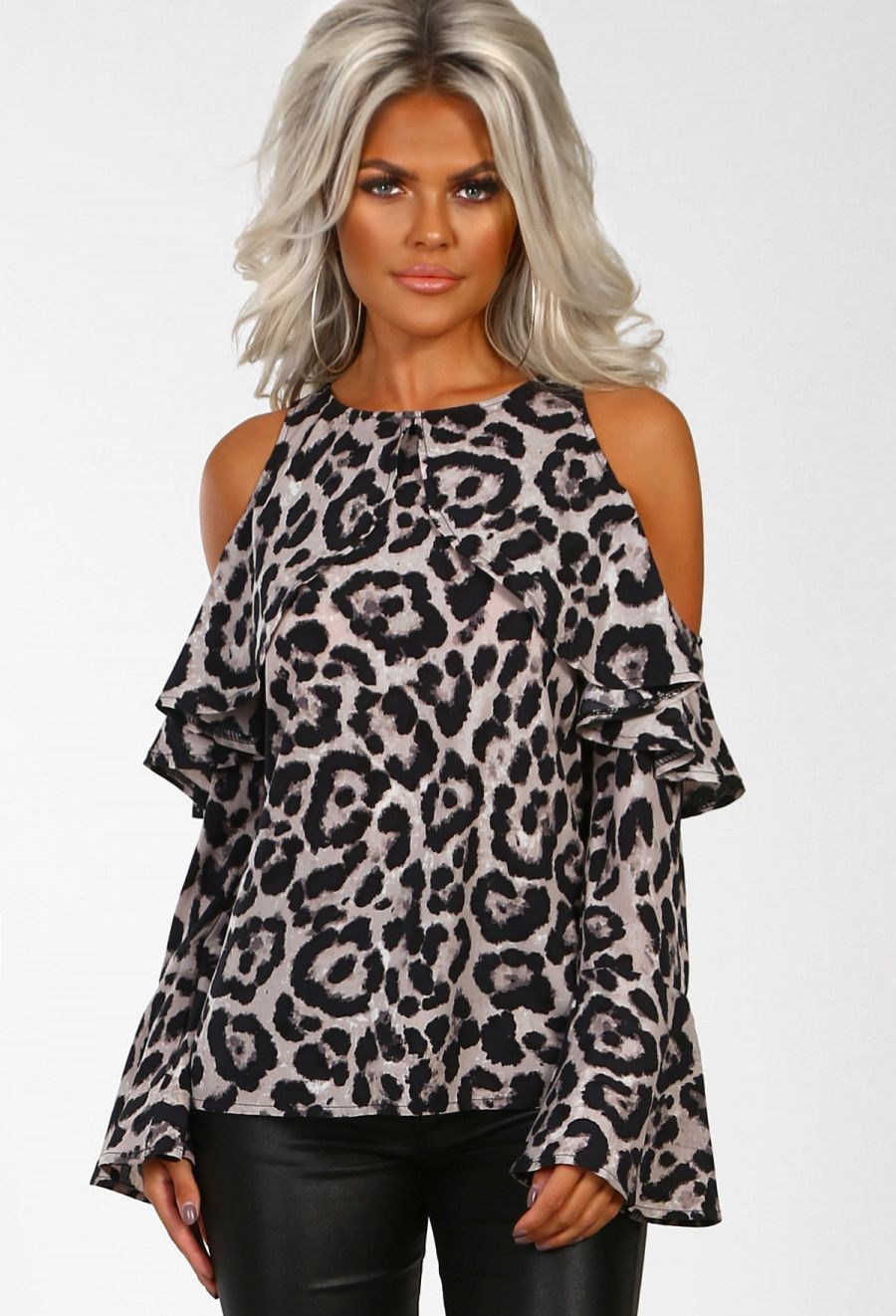 Jungle jamminu grey leopard print cold shoulder blouse new in at