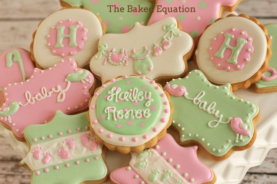 Pink Mint Green Baby Shower Cookies By The Baked Equation