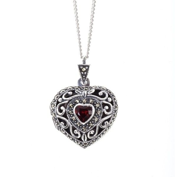6ceb46c7e4346d Women's Silver Necklaces by Lily Blanche Vintage Garnet Heart Locket ($210)  ❤ liked on Polyvore featuring jewelry, necklaces, heart locket, locket  necklace ...