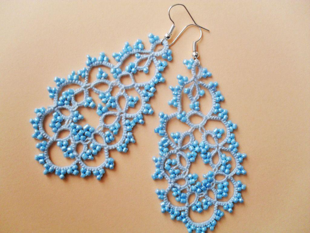 Boucles d'oreille bleu en dentelle de frivolite : Boucles d'oreille par carmentatting