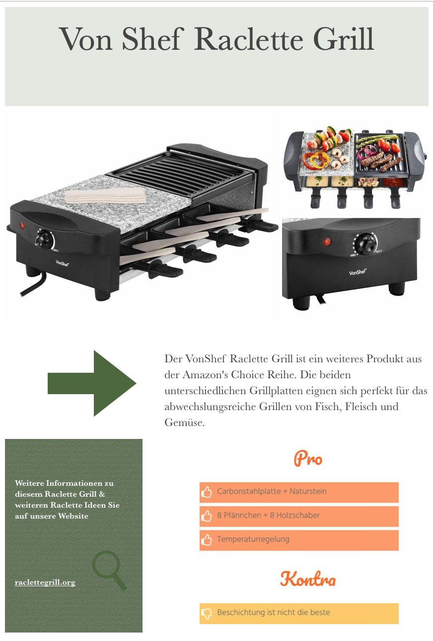 Vonshef Raclette Grill Im Test 8 Pfannchen 1200 Watt Raclette Ideen Natursteine Grillplatte