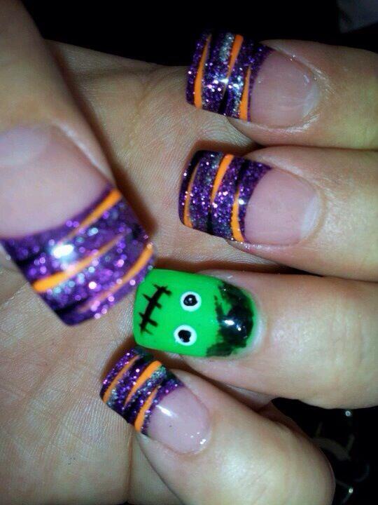 Halloween Purple Orange And Frankenstein Halloween Nail Designs Halloween Nails Nail Art Designs